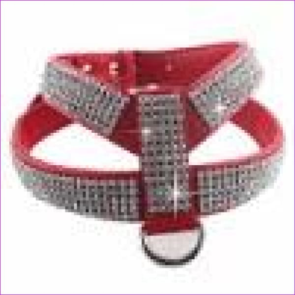 PU leather Rhinestones Small medium dog harness and collar set Exquisite Crystal diamond pet necklace for cats dogs lead leash - Red / XS -
