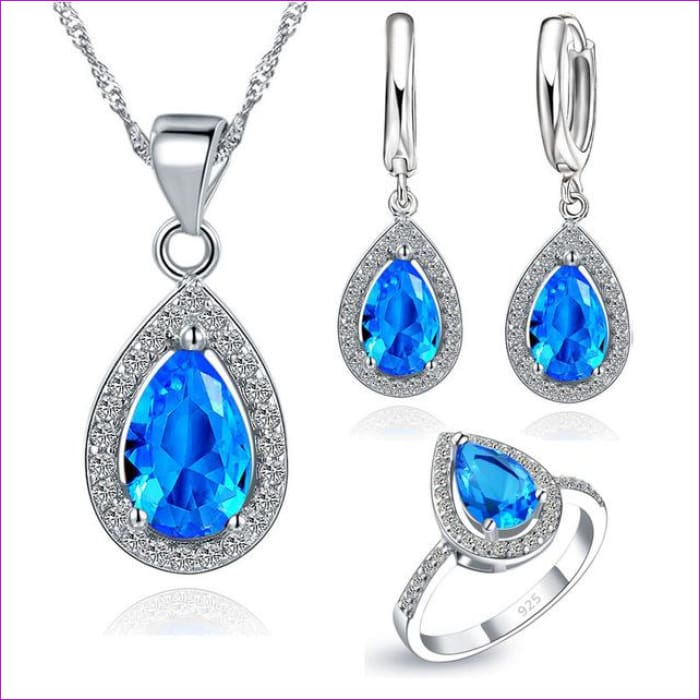 Purple Sets Water Drop Cubic Zirconia CZ Stone Earrings Necklaces Finger Rings - Blue / 6 - Jewelry Sets Jewelry Sets