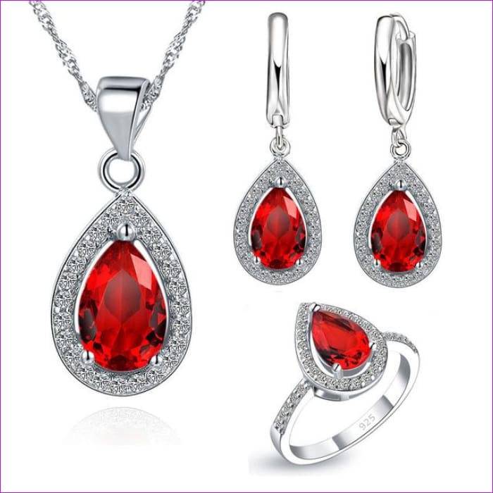 Purple Sets Water Drop Cubic Zirconia CZ Stone Earrings Necklaces Finger Rings - Red / 6 - Jewelry Sets Jewelry Sets