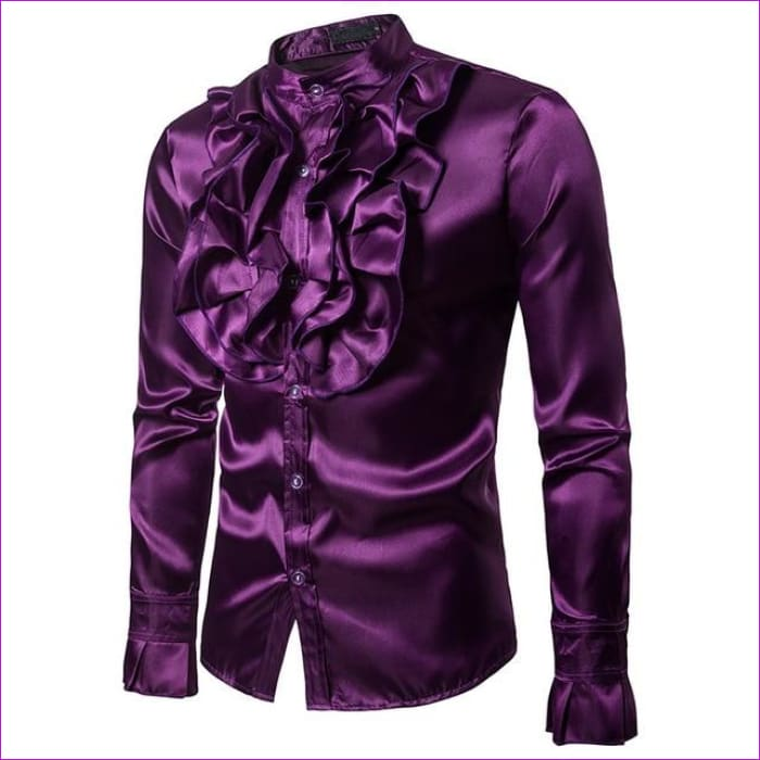 Purple Silk Satin Shirt Tuxedo Shirt Man Long Sleeve Slim Fit Gothic Shirt - Purple / Asian S - Tuxedo Shirts Tuxedo Shirts