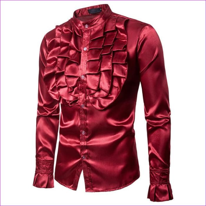 Purple Silk Satin Shirt Tuxedo Shirt Man Long Sleeve Slim Fit Gothic Shirt - Red / Asian S - Tuxedo Shirts Tuxedo Shirts