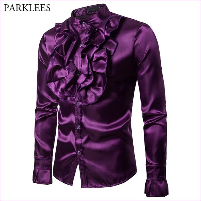 Purple Silk Satin Shirt Tuxedo Shirt Man Long Sleeve Slim Fit Gothic Shirt - Tuxedo Shirts Tuxedo Shirts