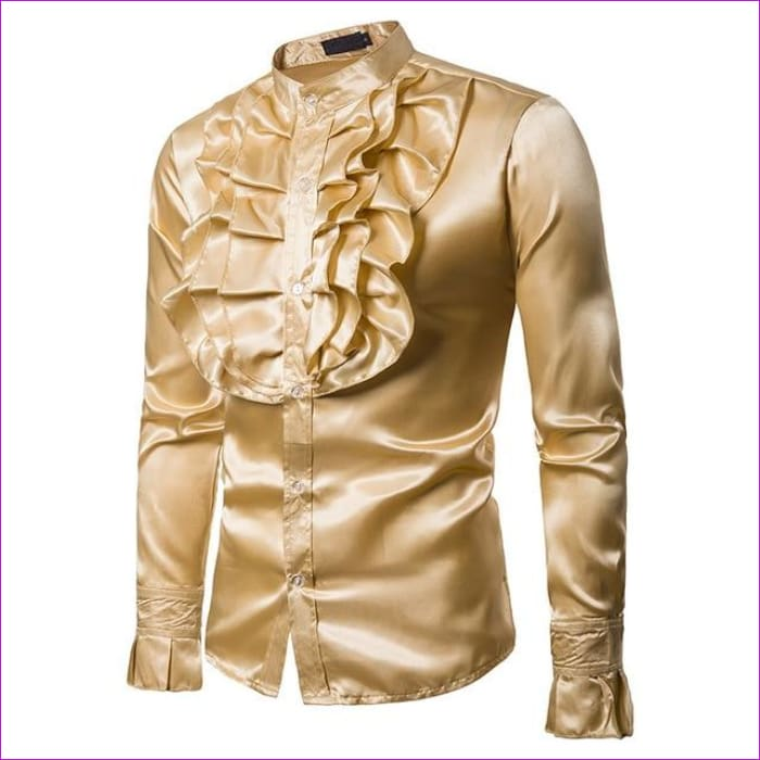 Purple Silk Satin Shirt Tuxedo Shirt Man Long Sleeve Slim Fit Gothic Shirt - Yellow / Asian S - Tuxedo Shirts Tuxedo Shirts