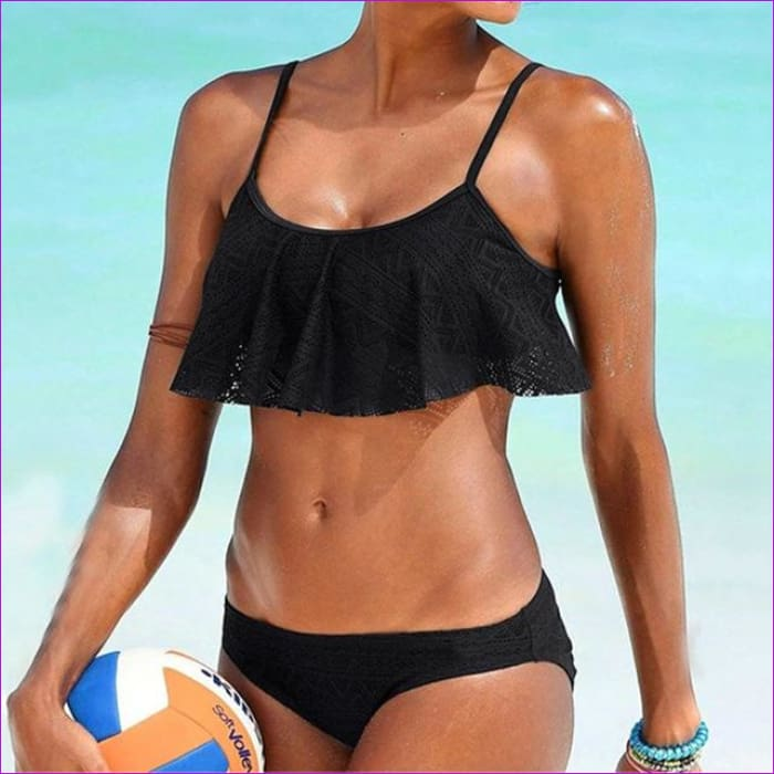 Push Up New 2018 Simple Solid Color Bikini Set Sexy Low Waist Beach Swimwear Women Lace Up Flounce Summer Brazilian Swimsuit - black / L -