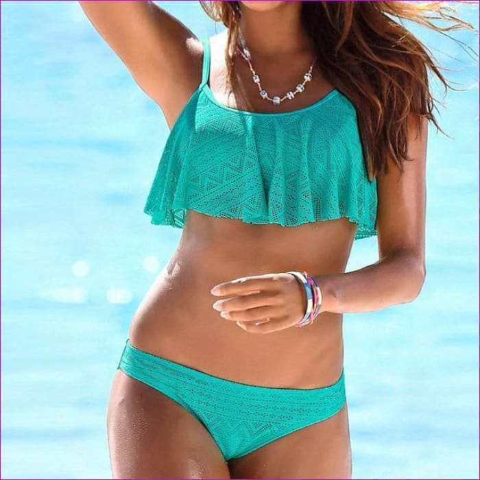 Push Up New 2018 Simple Solid Color Bikini Set Sexy Low Waist Beach Swimwear Women Lace Up Flounce Summer Brazilian Swimsuit - green / L -