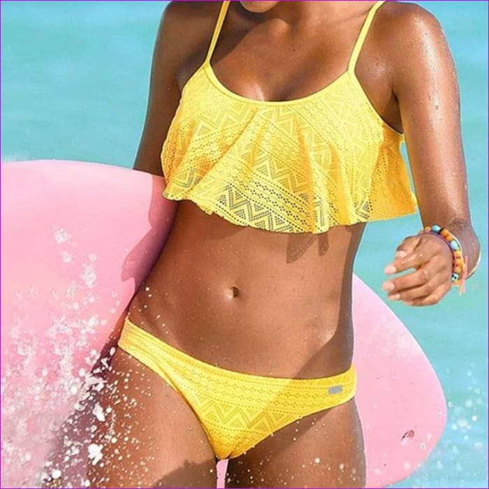 Push Up New 2018 Simple Solid Color Bikini Set Sexy Low Waist Beach Swimwear Women Lace Up Flounce Summer Brazilian Swimsuit - yellow / L -