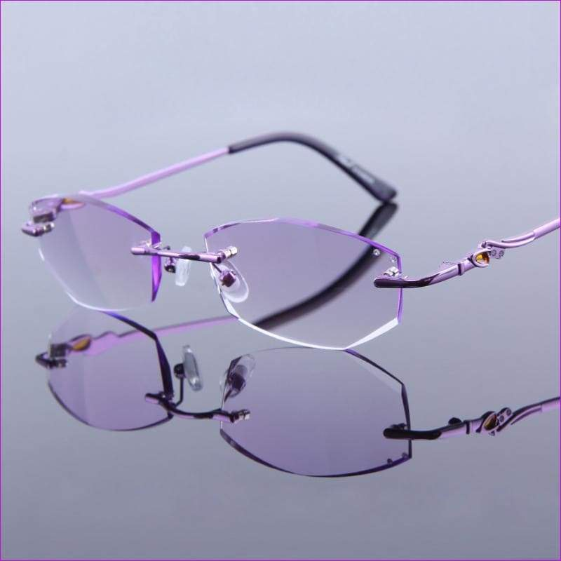 Reading Glasses Crystal Rimless Optical Eyeglasses Lady Luxury Quality Rhinestone Glasses - Reading Glasses