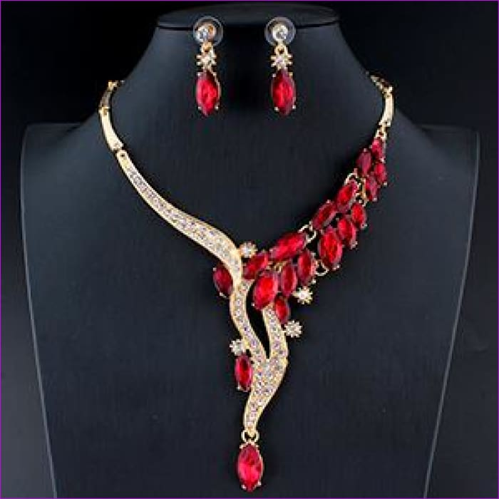 Red Crystal Necklace Earrings Bridal jewelry set glamor accessories Gold color - 1 - Jewelry Sets