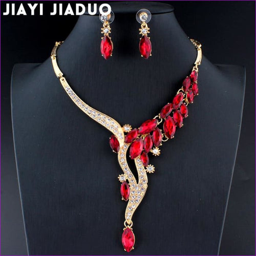 Red Crystal Necklace Earrings Bridal jewelry set glamor accessories Gold color - Jewelry Sets