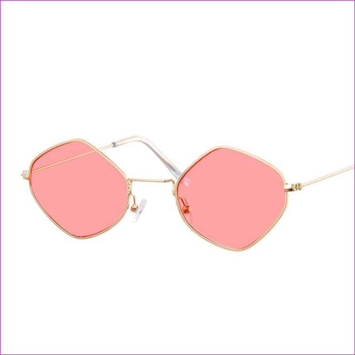 Red Retro Sunglasses Women Small Frame Polygon Luxury Brand Designer Blue Pink Clear Lens Sun Glasses Female Oculos De Sol - Gold Red - Sun