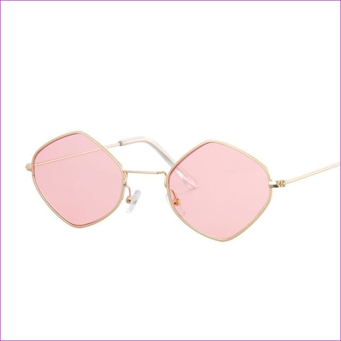 Red Retro Sunglasses Women Small Frame Polygon Luxury Brand Designer Blue Pink Clear Lens Sun Glasses Female Oculos De Sol - Gold Pink - Sun