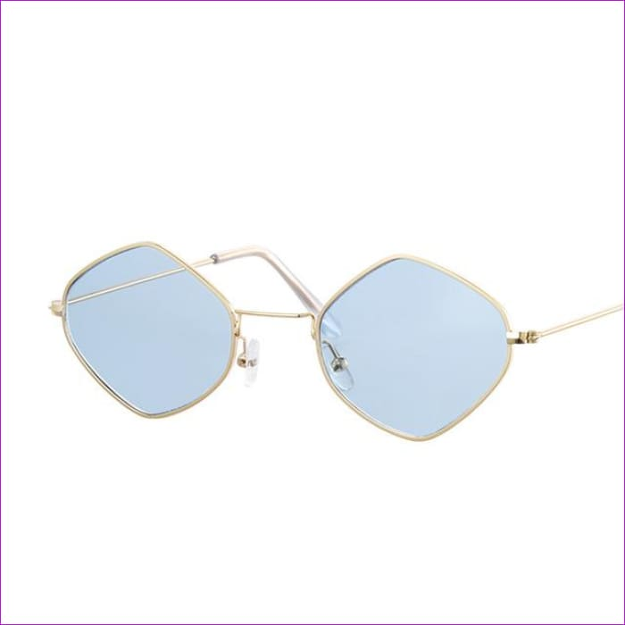 Red Retro Sunglasses Women Small Frame Polygon Luxury Brand Designer Blue Pink Clear Lens Sun Glasses Female Oculos De Sol - Gold Blue - Sun