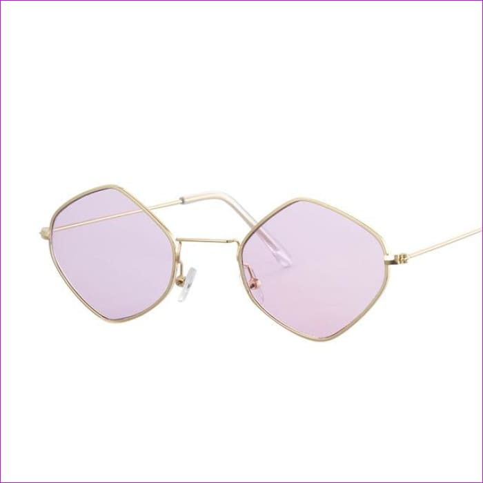 Red Retro Sunglasses Women Small Frame Polygon Luxury Brand Designer Blue Pink Clear Lens Sun Glasses Female Oculos De Sol - Gold Purple -