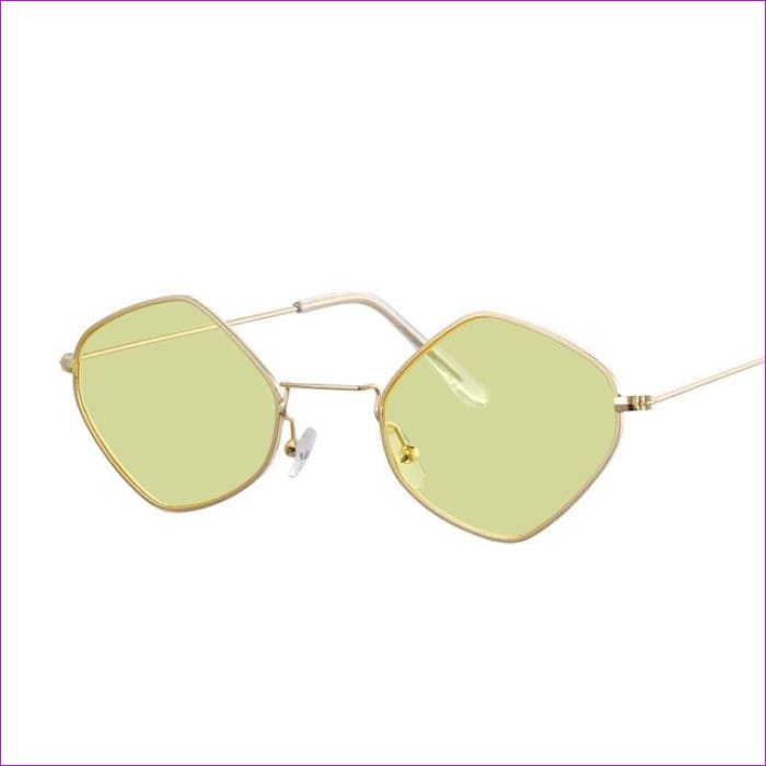 Red Retro Sunglasses Women Small Frame Polygon Luxury Brand Designer Blue Pink Clear Lens Sun Glasses Female Oculos De Sol - Gold Yellow -