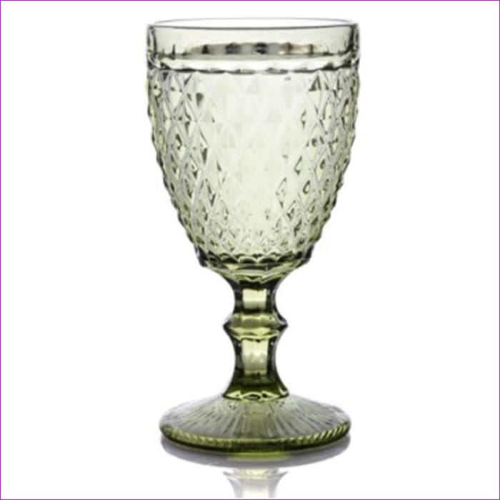 Relief Red Wine Cup 300ml Engraving Embossment Wine Glass Cups Champagne Assorted Goblets - Diamond Green / 240ml - Wine Glasses Wine