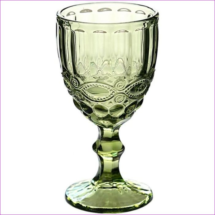 Relief Red Wine Cup 300ml Engraving Embossment Wine Glass Cups Champagne Assorted Goblets - Flowery Green / 240ml - Wine Glasses Wine