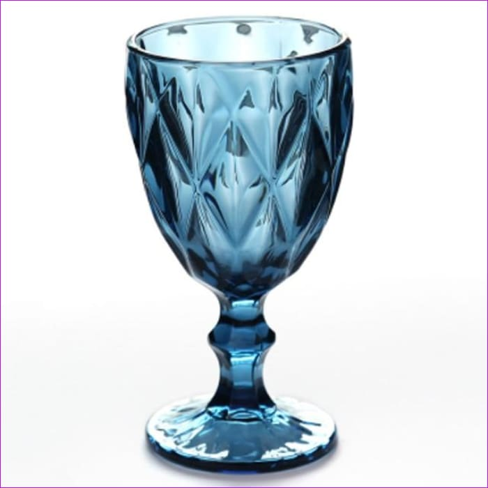 Relief Red Wine Cup 300ml Engraving Embossment Wine Glass Cups Champagne Assorted Goblets - Rhombus Blue / 240ml - Wine Glasses Wine Glasses