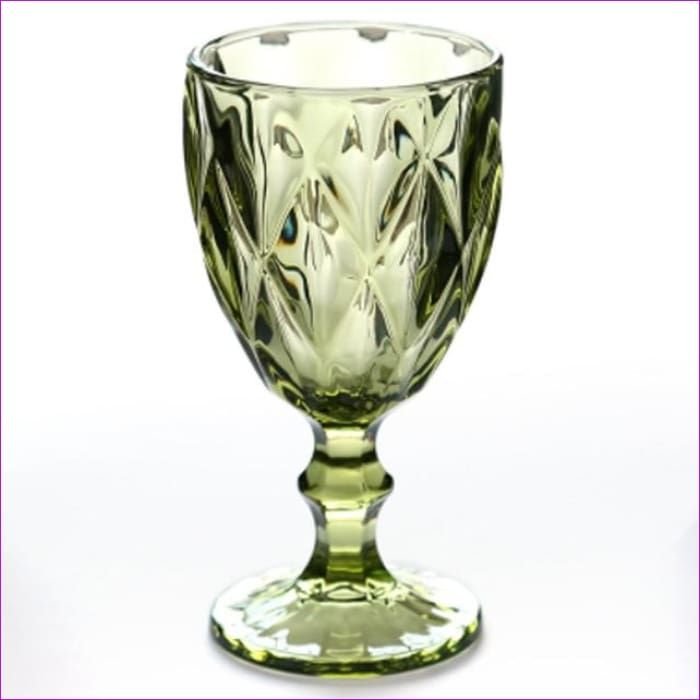 Relief Red Wine Cup 300ml Engraving Embossment Wine Glass Cups Champagne Assorted Goblets - Rhombus Green / 240ml - Wine Glasses Wine