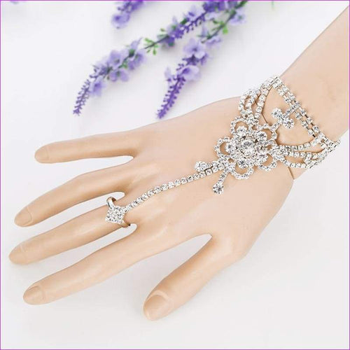 Rhinestone Bangle Bracelet Sapphire jewelry Bridal Wedding - Bridal Jewelry