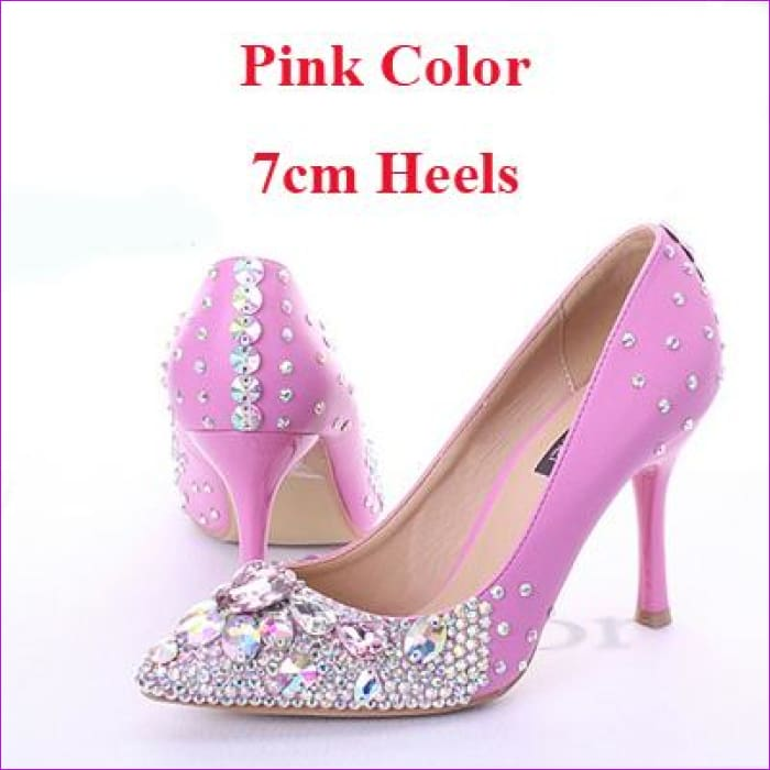 Rhinestone Bridal Dress Pointed Toe High Heels Shoes Pink Color with AB Crystal - Pink 7cm Heels / 4 - High Heel Shoes