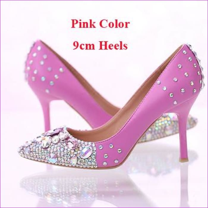 Rhinestone Bridal Dress Pointed Toe High Heels Shoes Pink Color with AB Crystal - Pink 9cm Heels / 4 - High Heel Shoes