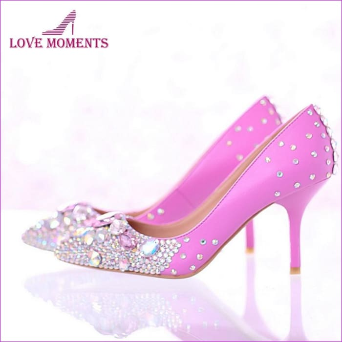 Rhinestone Bridal Dress Pointed Toe High Heels Shoes Pink Color with AB Crystal - High Heel Shoes