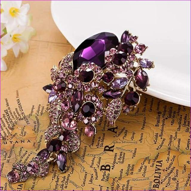 69611910d0 Rhinestone Brooch Flower Brooches Fine Vintage Longer Broaches Relogio Pin
