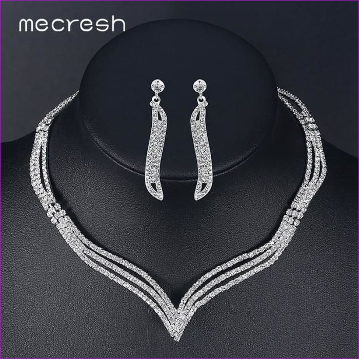 bc2657a736b Rhinestone Crystal Bridal Jewelry Sets Earrings Necklace Sets Silver Color  Wedding