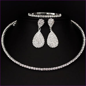 Rhinestone Crystal Choker Necklace Earrings and Bracelet Wedding Jewelry Sets - 1 layer - Jewelry Sets