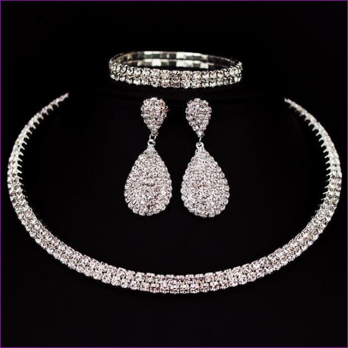 Rhinestone Crystal Choker Necklace Earrings and Bracelet Wedding Jewelry Sets - 2 layer - Jewelry Sets