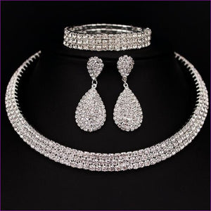 Rhinestone Crystal Choker Necklace Earrings and Bracelet Wedding Jewelry Sets - 3 layer - Jewelry Sets