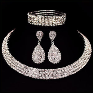 Rhinestone Crystal Choker Necklace Earrings and Bracelet Wedding Jewelry Sets - 4 layer - Jewelry Sets