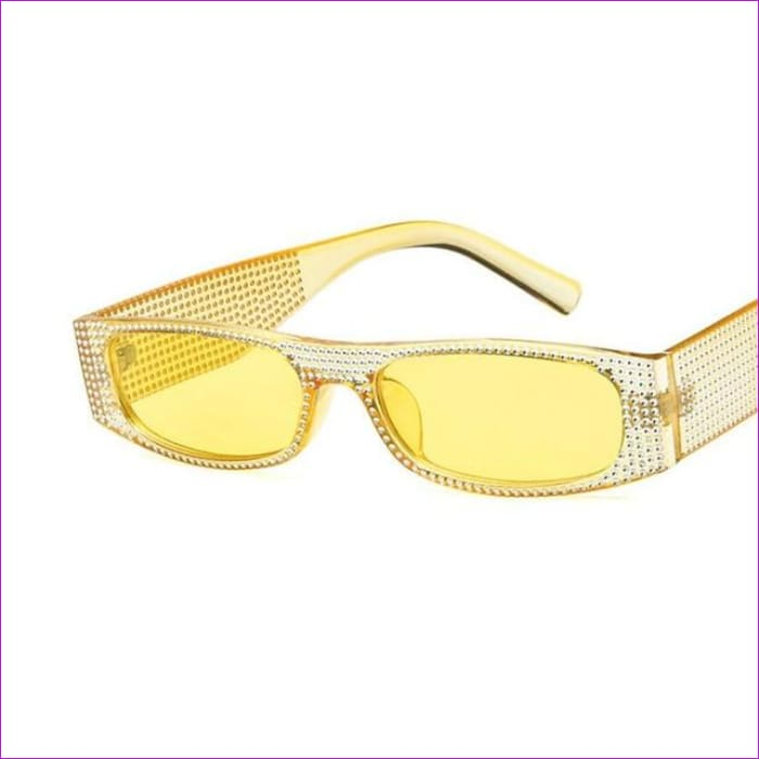 Rhinestone Designer Rectangle Sun Glasses Shining Small Frame Sunglass Shade - 010 - Sun Glasses Sun Glasses