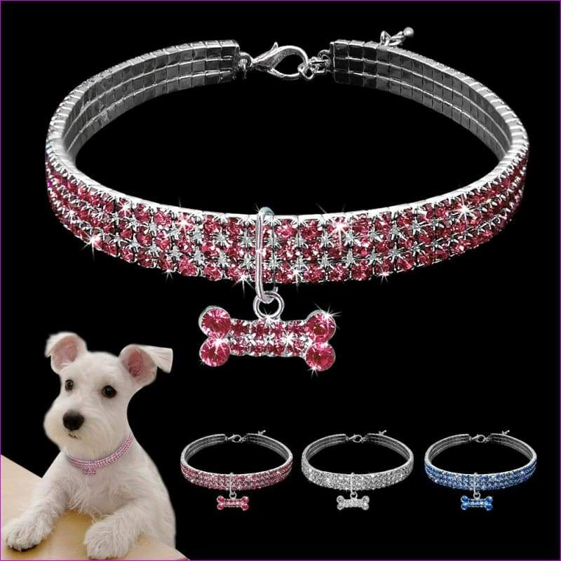 Rhinestone Dog Collar Puppy Crystal Necklace Jeweled Kitten Necklace Pets Diamond Accessory For Dogs Cats - Dogs