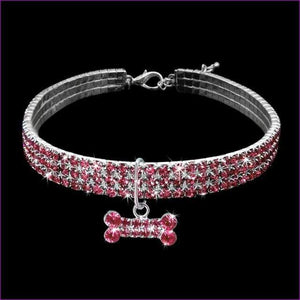 Rhinestone Dog Collar Puppy Crystal Necklace Jeweled Kitten Necklace Pets Diamond Accessory For Dogs Cats - Pink / L - Dogs