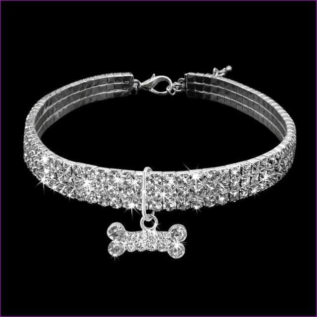 Rhinestone Dog Collar Puppy Crystal Necklace Jeweled Kitten Necklace Pets Diamond Accessory For Dogs Cats - Silver / L - Dogs