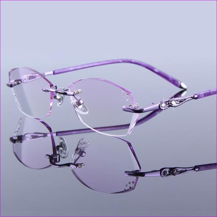 Rhinestone Eyeglass Rimless Female High Clear Hyperopia Purple Presbyopic Glasses - Reading Glasses Reading Glasses