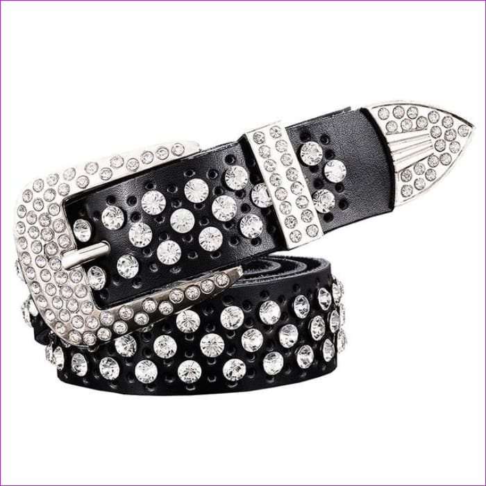 Rhinestone Genuine leather belts for women Luxury Wide Pin buckle belt woman High quality Second layer Cowskin strap - Black / 100cm -
