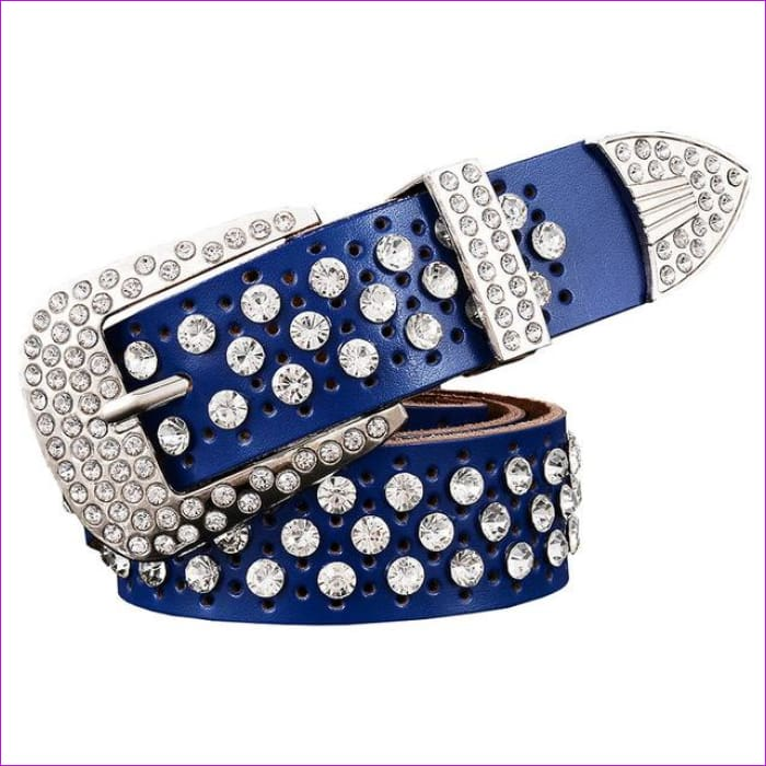 Rhinestone Genuine leather belts for women Luxury Wide Pin buckle belt woman High quality Second layer Cowskin strap - Blue / 100cm - Womens