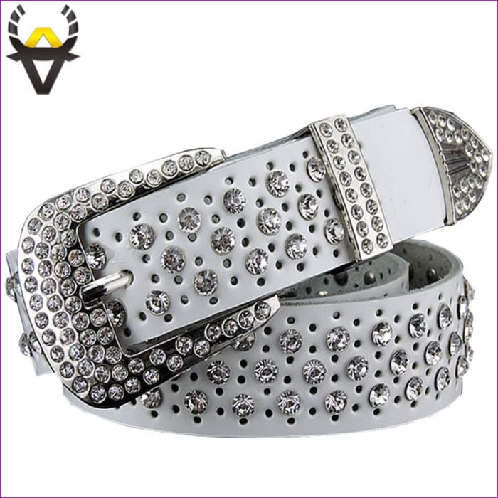 Rhinestone Genuine leather belts for women Luxury Wide Pin buckle belt woman High quality Second layer Cowskin strap - Womens Belts