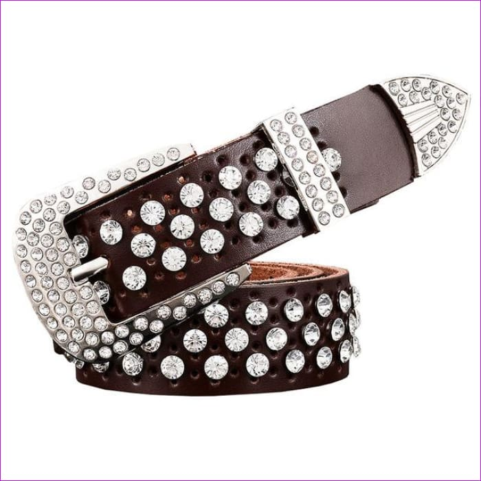 Rhinestone Genuine leather belts for women Luxury Wide Pin buckle belt woman High quality Second layer Cowskin strap - Coffee / 100cm -