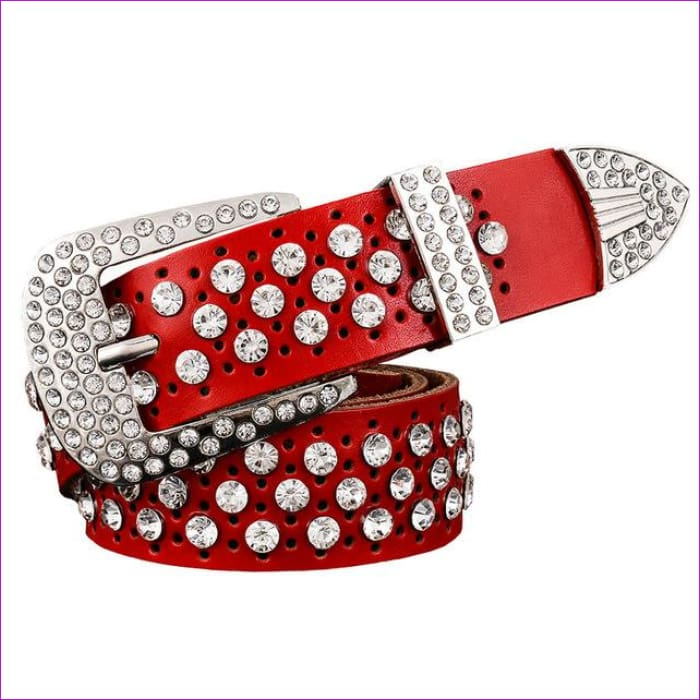 Rhinestone Genuine leather belts for women Luxury Wide Pin buckle belt woman High quality Second layer Cowskin strap - Red / 100cm - Womens