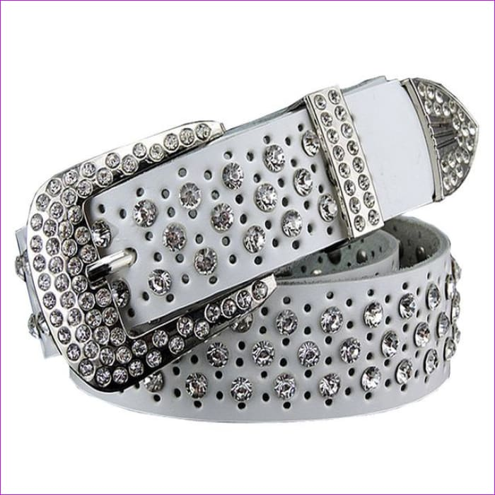 Rhinestone Genuine leather belts for women Luxury Wide Pin buckle belt woman High quality Second layer Cowskin strap - White / 100cm -