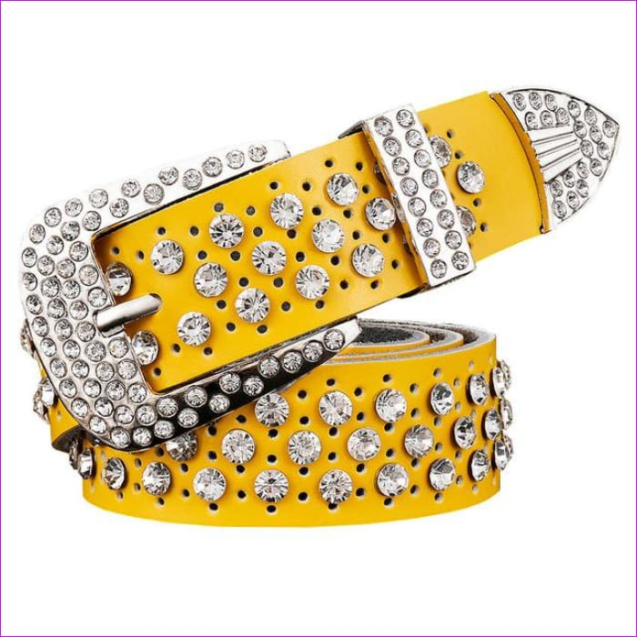 Rhinestone Genuine leather belts for women Luxury Wide Pin buckle belt woman High quality Second layer Cowskin strap - Yellow / 100cm -