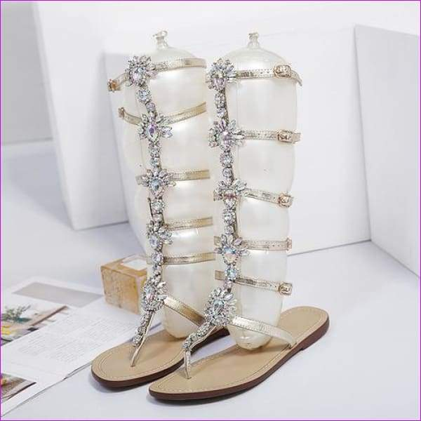 Rhinestone Knee High Buckle Strap Woman Boots Bohemia Crystal Beach Shoes - gold / 4 - Beach Sandals