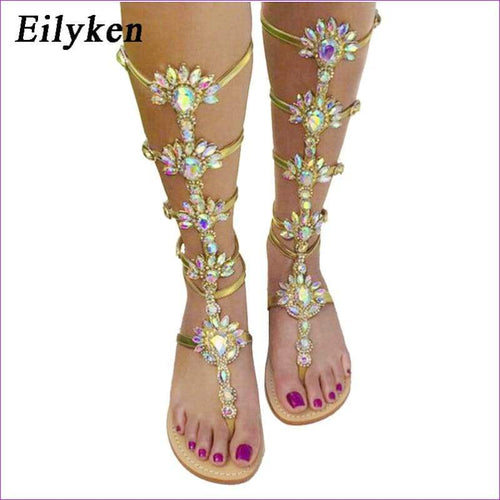 Rhinestone Knee High Buckle Strap Woman Boots Bohemia Crystal Beach Shoes - Beach Sandals