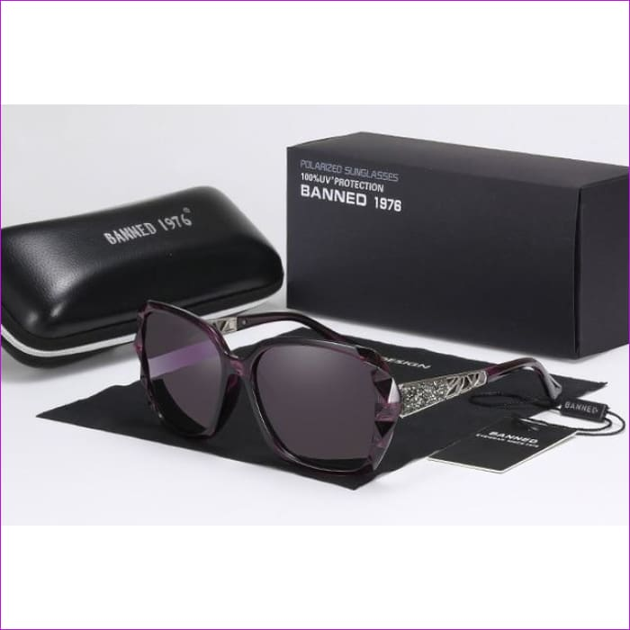 Rhinestone Polarized Sunglasses Elegant Big Sun Glasses - purple - Sun Glasses Sunglasses