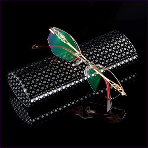 Rhinestone Readers Eyewear Computer For Work Rimless Frame Gold Presbyopic Optical Eyeglasses - Reading Glasses