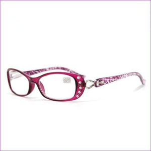 Rhinestone Reading Glasses +50 +75 100 125 150 175 200 225 250 275 375 +450 +500 - +100 / Graceful Purple - Reading Glasses