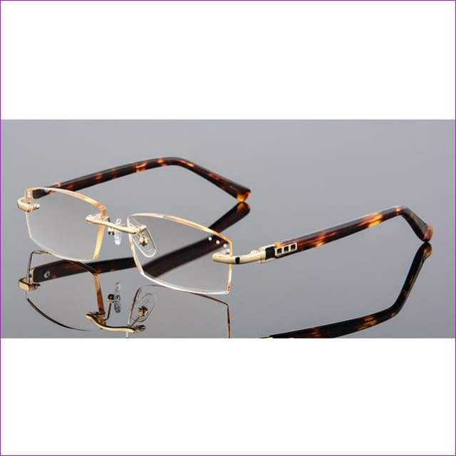 Rhinestone Reading Glasses Diamond Cutting Rimless Glasses +1.0 to +4.0 - +100 / Light brown lenses - Reading Glasses